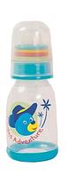 Бутылочка для кормления с погремушкой Lindo, 125 мл, силиконовая соска, 0 мес+