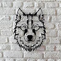 """Картина из металла  """"Волк"""" (черный мат). Панно на стену. Декоративное панно."""