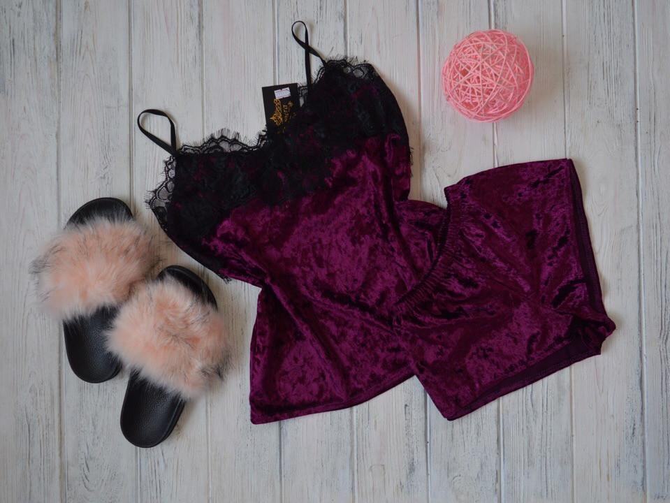 Женская бархатная пижама с широким кружевом