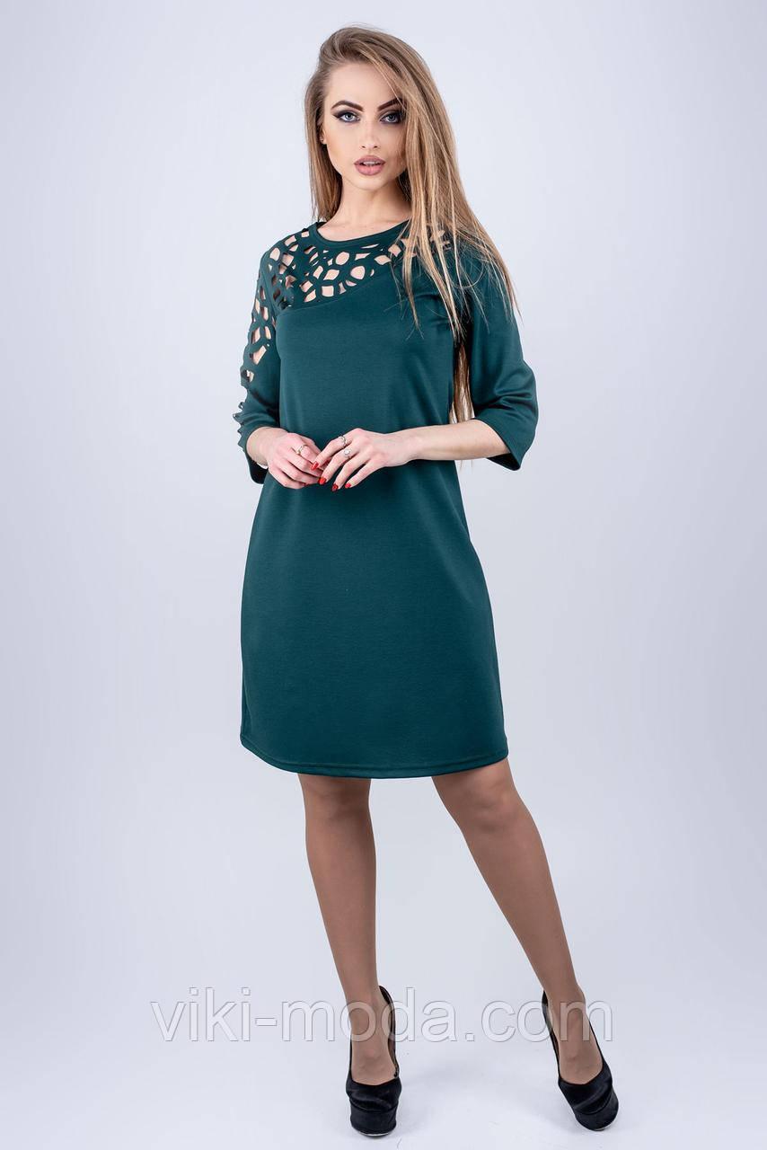 Стильное платье Луиза прямого силуэта, зеленого цвета