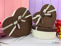 Оригинальный подарок набор коробок в форме сердца с бантом  шоколадный цвет для девушки парня сюрприз
