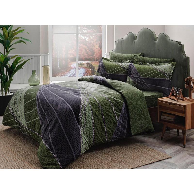 bb55356f6595 Постельное белье Tac сатин Delux - Borneo yesil v01 зеленый евро ...