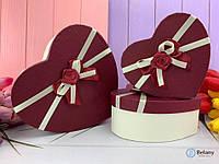 Набор коробок с бантом картонные 3 шт для упаковки подарка на 8 марта девушке