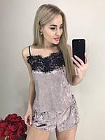 Женская бархатная пижама с широким кружевом, фото 1