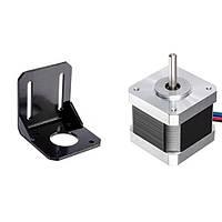 Шаговый двигатель NEMA17 17HS4401 1.7А с  угловым кронштейном для ЧПУ станков и 3D-принтеров