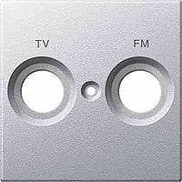 Накладка антенной розетки двопостовая TV+FM алюминий Shneider Merten (MTN299560), фото 1