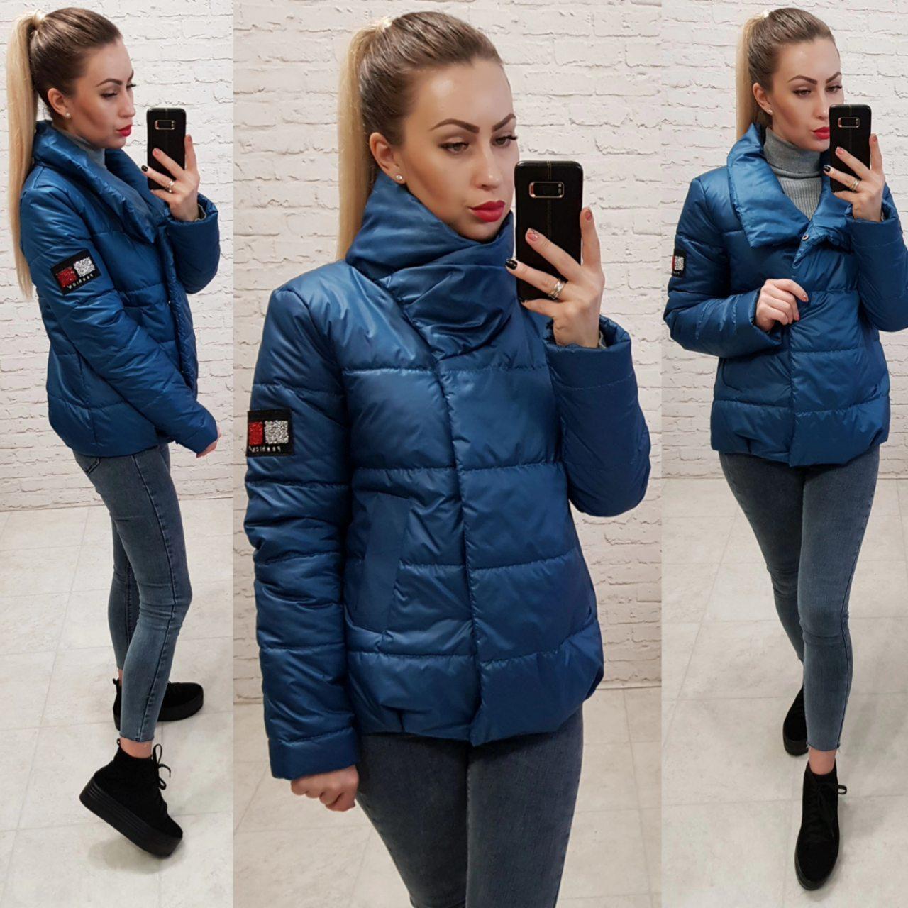 Демісезонна куртка кокон з коміром стійкою, арт. 1004, колір джинс синій