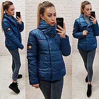 Демисезонная куртка кокон с воротом стойкой, арт. 1004, цвет синий джинс
