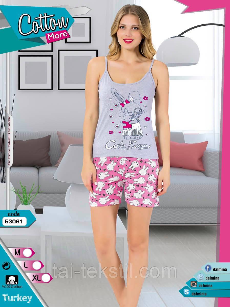 Пижама женская майка и шорты хлопок разные цвета Cotton More № 53061