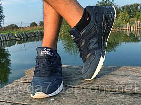 Кроссовки мужские синие New Balance замша реплика, фото 3
