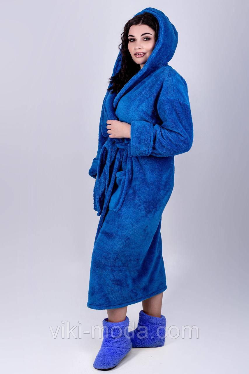 Синий махровый халат Делли, длинный мягкий