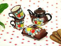 """Украинский чайный сервиз """"Райские яблоки"""", чайный сервиз ручной работы 4 предмета"""