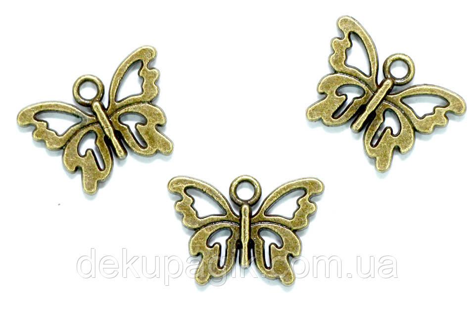 Металлическая подвеска Бабочка Ажурная (античная бронза), 15*10мм