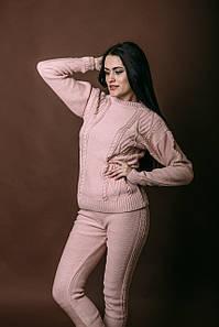 Вязанный костюм из натурального хлопка Vshubke приталенный вязанный 42 44 46 48 50 розовый (758)