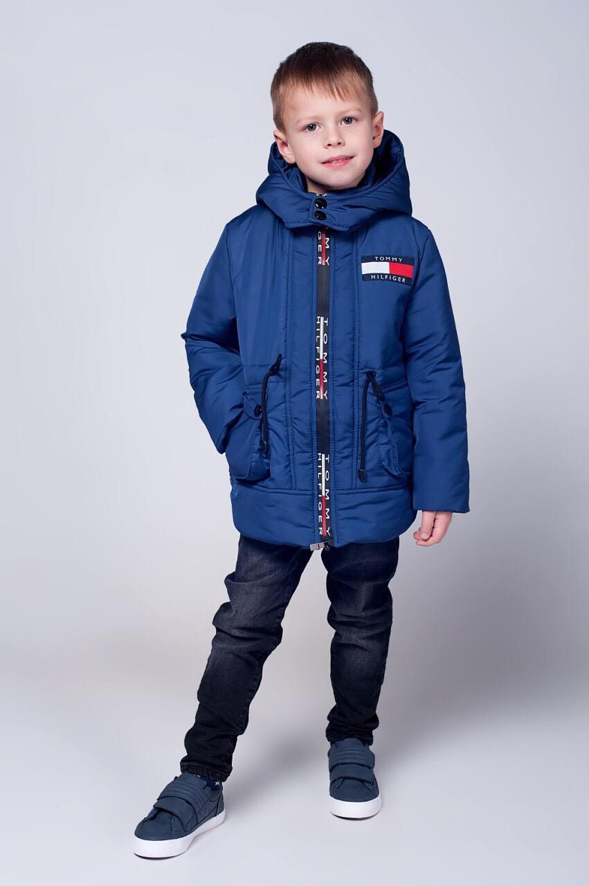 Демисезонная мальчуковая куртка в спортивном стиле 104-122.