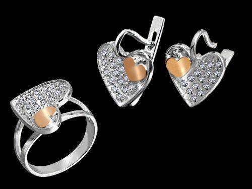 Серебряный комплект с золотыми пластинками серьги+кольцо