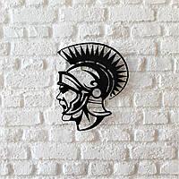 """Картина из металла  """"Спартанец"""" (черный мат). Декоративное панно на стену.."""