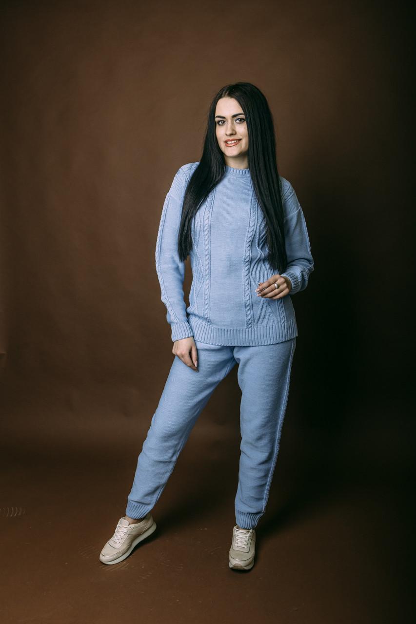 Женский спортивный костюм из хлопка Vshubke вязанный приталенный 42 44 46 48 50 голубой (760)