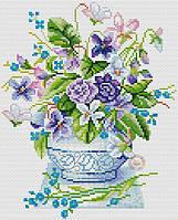 Набор для вышивания крестиком Цветы в вазе. Размер: 16*20 см