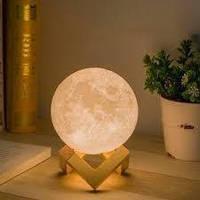 Ночник светильник настольный декоративный с регулировкой яркости 3D Луна шар 15 см