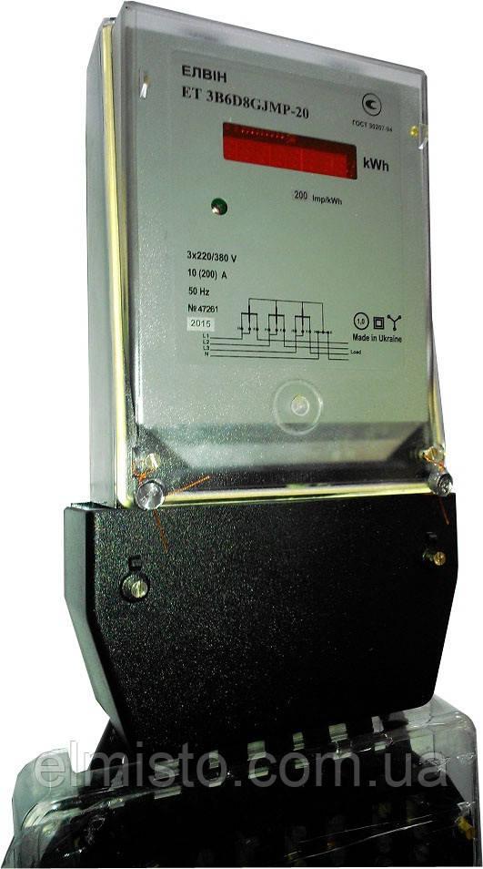 Счетчик электроэнергии Елвін ЕТ 3B 5Е8GLMT 5А 3*380V А±R±, 1 тариф, двунаправленный трансф.вкл., ТВ