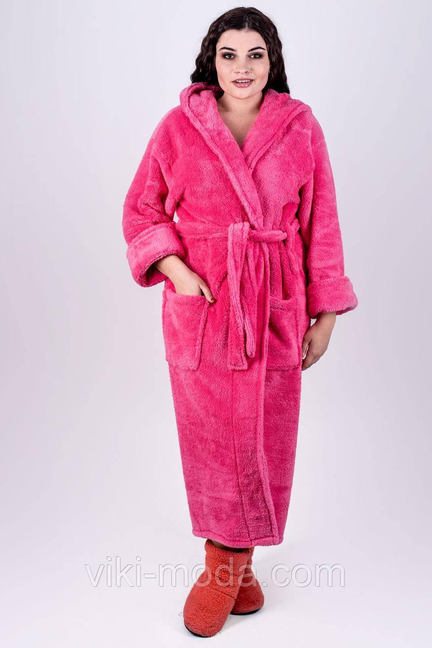 Теплый махровый халат Делли, длинный, мягкий. Малинового цвета
