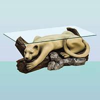 Журнальный стеклянный скульптурный стол, кофейный столик скульптура Пума (Б)