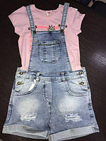 Комбинезон джинсовый с шортами для девочки, стильный, светлый джинс Sercino  128  134