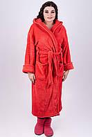 Красный махровый халат Делли, длинный, мягкий теплый