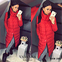 Красная женская куртка, длинная