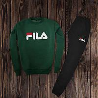 Мужской спортивный костюм, чоловічий костюм Fila (свитшот +штаны) (хаки)  Реплика