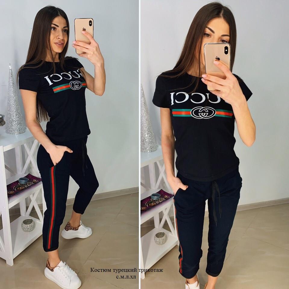 Костюм Gucci, футболка и брюки с полосой 7/8 размеры от 42 до 52