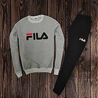 Мужской спортивный костюм, чоловічий костюм Fila (свитшот +штаны) (серый)  Реплика