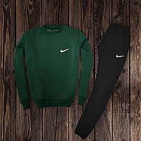 Мужской спортивный костюм, чоловічий костюм Nike (свитшот +штаны) (хаки+белая эмбл.)  Реплика