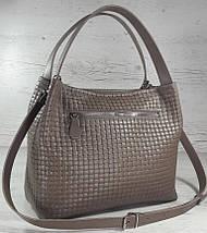 523-XL Натуральная кожа Сумка женская кофейная с тиснением 3D кожаная бежевая женская сумка мягкая коричневая, фото 2