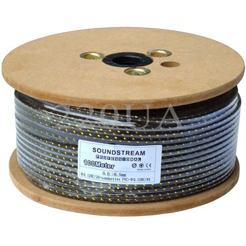 Кабель инструментальный Sound Stream 1x0.22 мм² OFC CU черный в сетке 100м