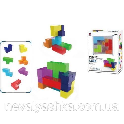 Конструктор Головоломка Магнитный Блоковый Квадратные блоки развивающий, XINBIDA 7 дет 54 карты, 730А-В 009642
