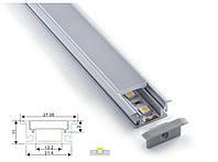 Алюминиевый профиль для светодиодной ленты врезной 27х11 c диффузором