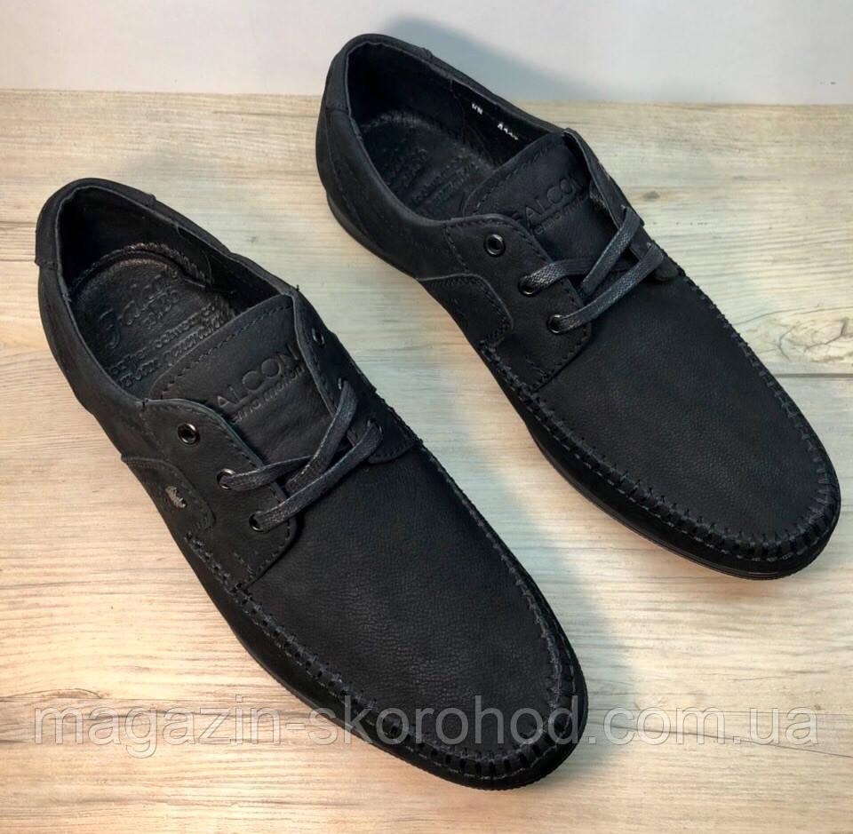 75420294a Мокасины мужские туфли из нубука Falcon на шнурках - Скороход в Запорожье