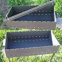 Мангал на 11 шампуров (3 мм, съемные ножки) 600х300х135 мм