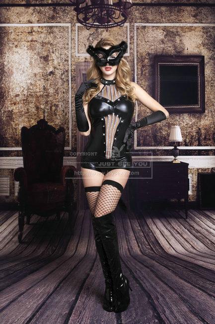 Черный костюм полуночной кошечки S/M