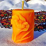 """Восковая свеча """"Тюльпан"""" из натурального пчелиного воска, фото 2"""