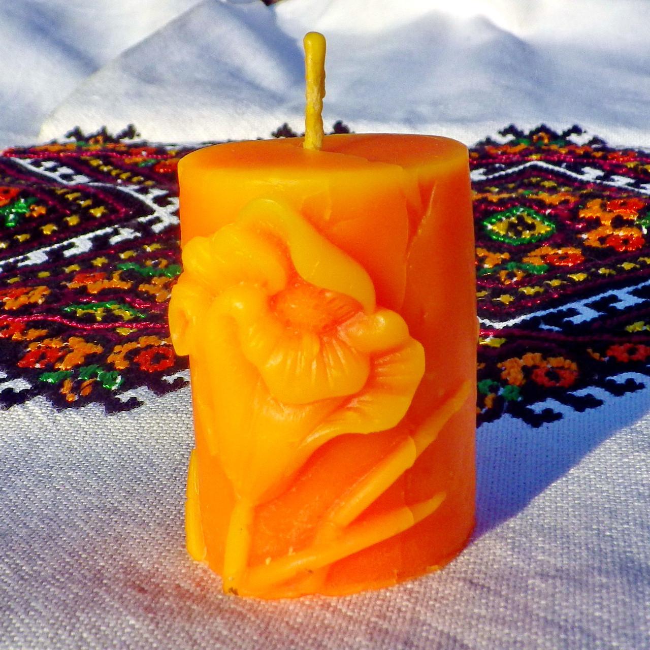 """Восковая свеча """"Тюльпан"""" из натурального пчелиного воска"""