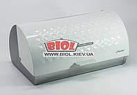 Хлібниця металева з металевою кришкою білого кольору 38х25х18см Maestro MR-1676W, фото 1