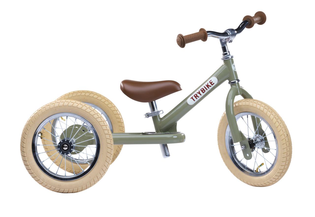 TRYBIKE - Балансирующий велосипед трехколесный, цвет оливковый