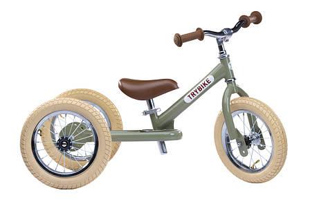 Балансирующий велосипед трехколесный, цвет оливковый Trybike, фото 2