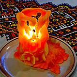 """Восковая свеча """"Коралловые Маки и Колоски"""" из пчелиного воска, фото 6"""