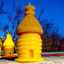 """Восковая свеча """"Соломенный улей"""" из натурального пчелиного воска"""