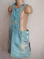 Сарафан джинсовый Цветочки для девочки 6-8 лет , фото 1