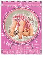 """Схема для частичной вышивки бисером """"Метрика для девочки"""""""